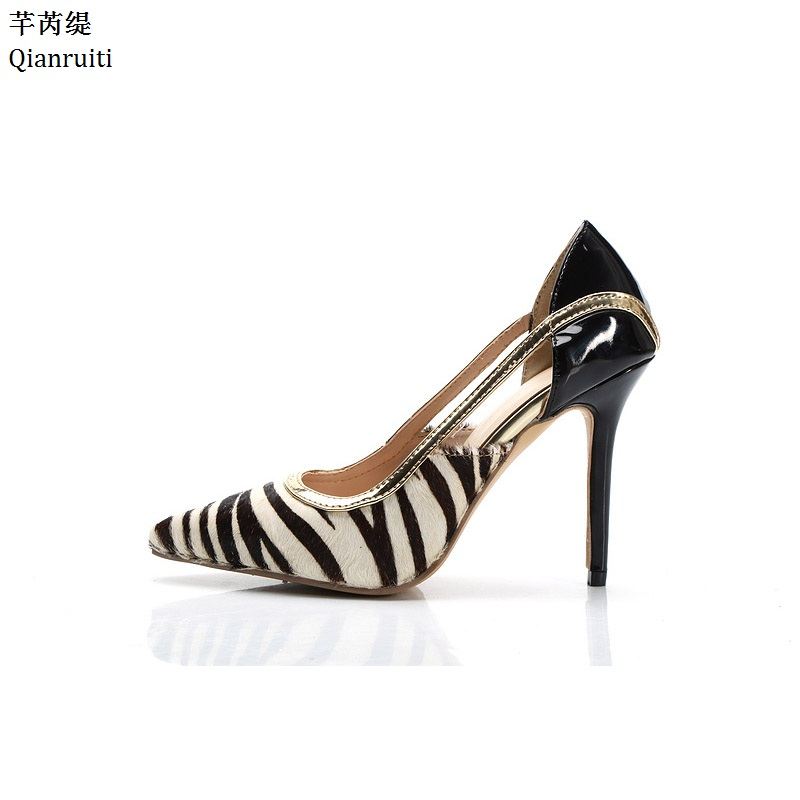 Qianruiti Patchwork Horsehair Patent Leather Women Pumps Stripe Stiletto Heels Women Shoes Pointed Toe High Heels Wedding Shoes qianruiti royal blue stiletto heels women pumps sexy pointed toe women shoes studded crystal high heels bridal wedding shoes