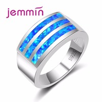 Jemmin 2017 New Arrival Three Bars of Blue Opal Crystal 925 Sterling Silver Ring Rectangle Design Women Wide Band Bijoux