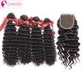 OMGA Перуанский Девы Волос С Закрытие Глубокая Волна 4 Пучки с Закрытием # 1B Бесплатный Ближний Три Части Необработанные 7А Перуанский волос