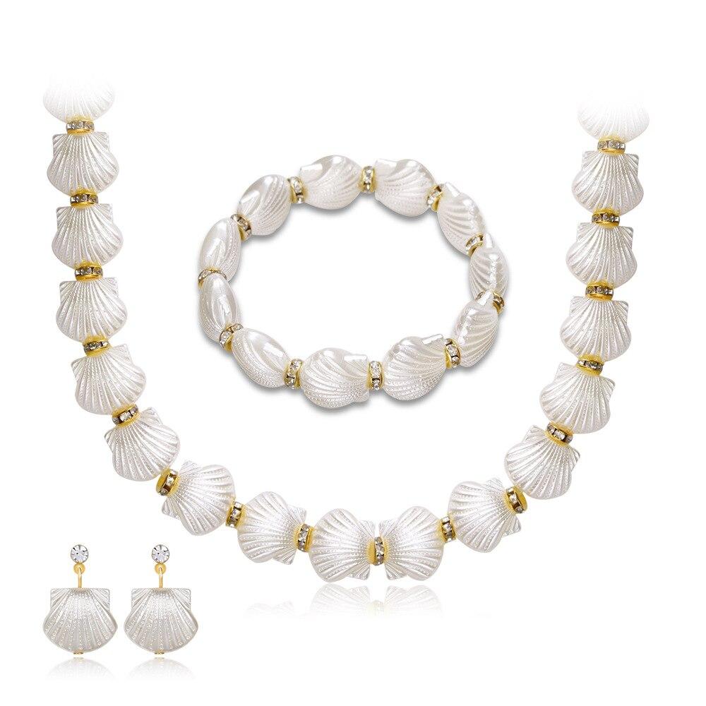808 Shop Mode Dubai Frauen Kristall Shell Perle Schmuck Sets 18 Karat Gold Halskette Ohrringe Hochzeit Schmuck Zubehör