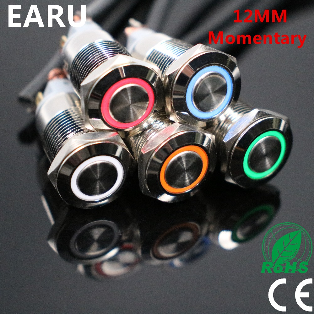 12mm Waterproof Momentary Stainless Steel Metal Doorbell Bell Horn Push Button Switch LED Car Auto Engine PC Power Start Starter 1pcs 16mm momentary push button switch waterproof high round stainless steel metal car horn bell clourful oxidation auto reset