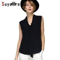 Women Silk Blouse REAL WHITE Silk Blouse Bow Sleeveless Solid Shirt Women Chiffon Blouse Spring Summer