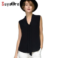 Women Silk Blouse REAL WHITE Silk Blouse Bow Sleeveless Solid Shirt Women Chiffon Blouse Spring Summer