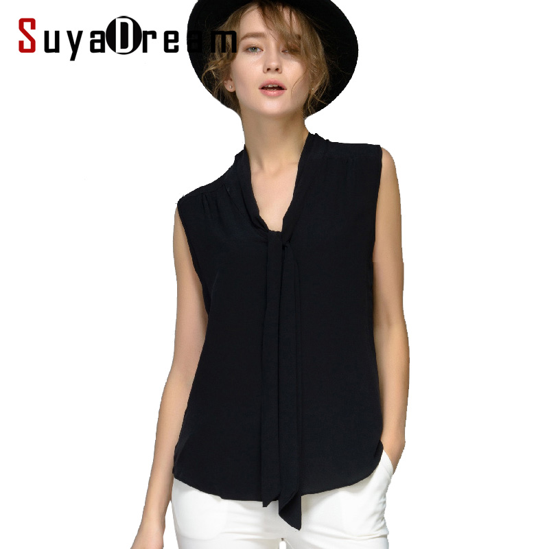 Women Silk blouse 100% REAL silk blouse Bow Sleeveless Solid shirt Women chiffon blouse Fall Summer 2018 new