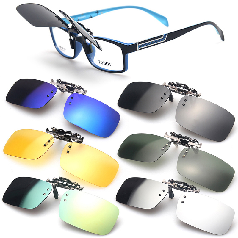 UV400 Sunglasses Polarized Clip On Flip-up Driving Glasses Day//Night Vision Lens
