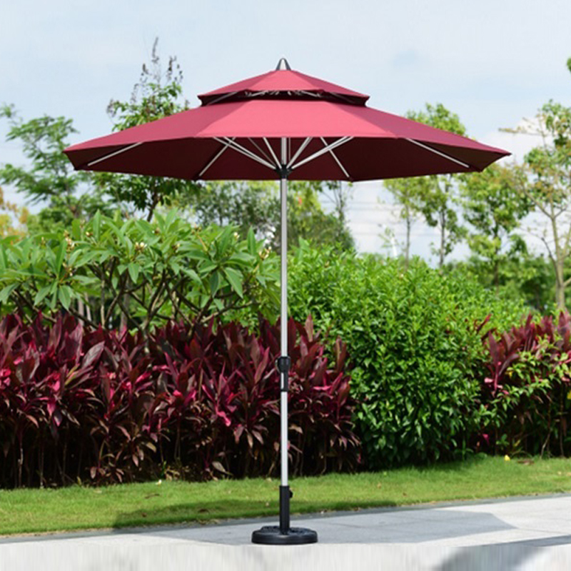 2.7 meter brushed aluminum outdoor sun umbrella patio covers garden parasol sunshade ( no base ) 2 7 meter steel iron duplex outdoor beach sun umbrella patio parasol sunshade garden furniture cover no base