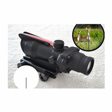 Hunting Riflescope Chevron ACOG 4X32 Real Fiber Optical Scope Red Green Illuminated Glass Etched Reticle Tactical Optical Sight tactical 4x32 rifle scope fiber optic illuminated scope for 20mm rail hunting shooting military red green dot reticle sight