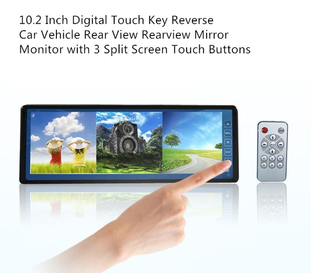 new arrival 10.2 Inch Digital Touch Key Reverse Car Vehicle Rear View Rearview Mirror Monitor with 3 Split Screen Touch Buttons