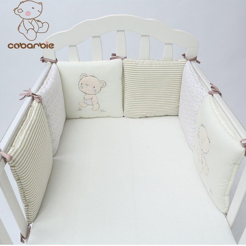 1-14PCS / बहुत शिशु पालना बम्पर बिस्तर रक्षक बच्चे बच्चे कपास खाट नर्सरी बिस्तर लड़का और लड़की के लिए आलीशान भालू बम्पर