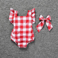 Infant Photography Props Outfits Cotton Toddler Kids Baby Girls Summer Lace Plaid Newborn Baby Girl Rompers