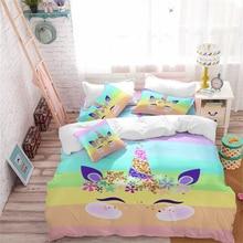 Lovely Unicorn Bedding Set Colorful Striped Duvet Cover Girls Princess Cartoon Twin Full Queen King Pillowcase D40