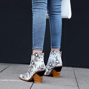Image 5 - MORAZORA 2020 big size 44 women ankle boots pointed toe Snake zip high heels boots fashion autumn dress party shoes woman