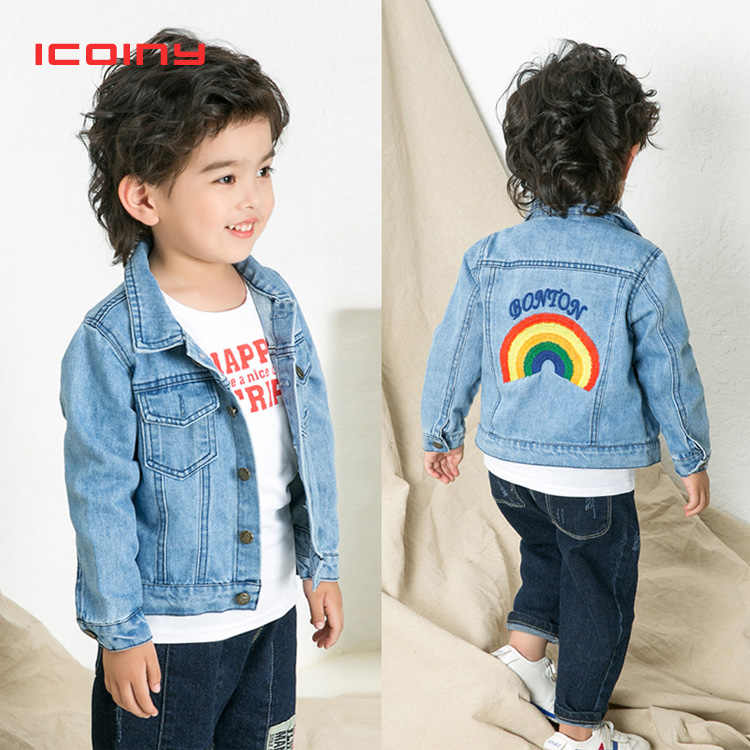 852a581d1 Niño Arco Iris abrigo Denim de 2019 primavera otoño chaquetas para niñas  unicornio bordado niños ropa