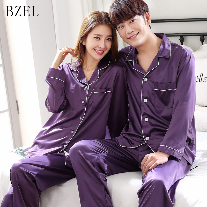 BZEL Silk Satin Couples Pajamas Set For Women Men Long Sleeve Sleepwear Pyjamas Suit Home Clothing His-and-hers Clothes Pijamas