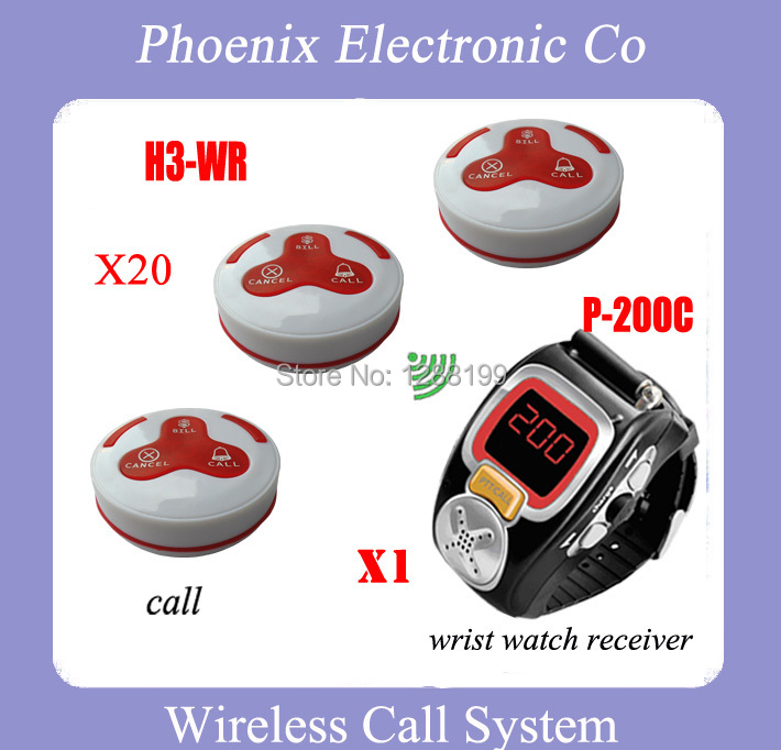 Most Fashion  Wireless Restaurant Call System With 15 Waterproof Bell H3-WR 1 Wrist Pager Receiver P-200C DHL Free Ship restaurant pager watch wireless call buzzer system work with 3 pcs wrist watch and 25pcs waitress bell button p h4