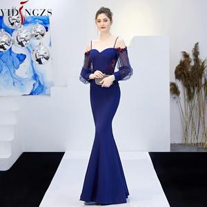 Image 3 - YIDINGZS ללא משענת אפליקציות ואגלי ארוך שמלת ערב רצועת פורמליות ערב המפלגה שמלת YD0801