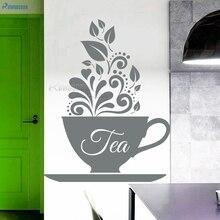 цены ROWNOCEAN Creative Design Kitchen Wall Stickers Tea Cup Art wall Decals Vinyl Decorations Living Room Mirror Removable 3D D582