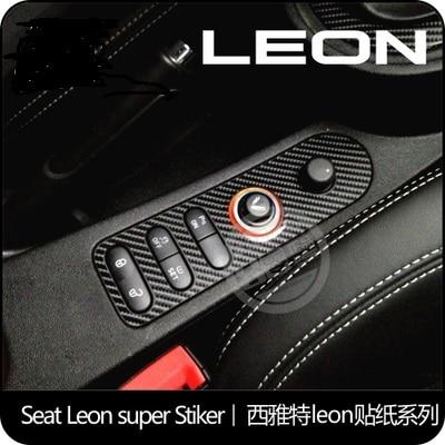 De koolstofvezel auto stickers van de centrale knop gebied voor seat leon cupra
