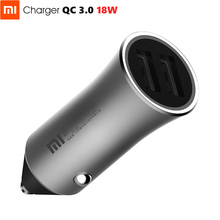 Original Xiaomi Car Charger 18W Max QC3.0 โลหะตัวเรือนทองเหลืองแหวนไฟ Dual USB พอร์ต Quick Charge 9V = 2A 5V = 2.4A