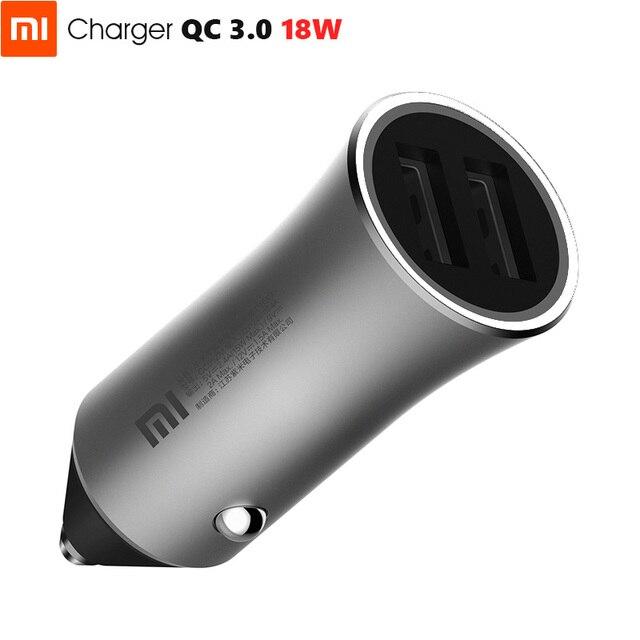 Original Xiaomi Car Charger 18W Max QC3.0 Full Metal Brass Housing Ring Light Dual USB Smart Port Quick Charge 9V=2A 5V=2.4A
