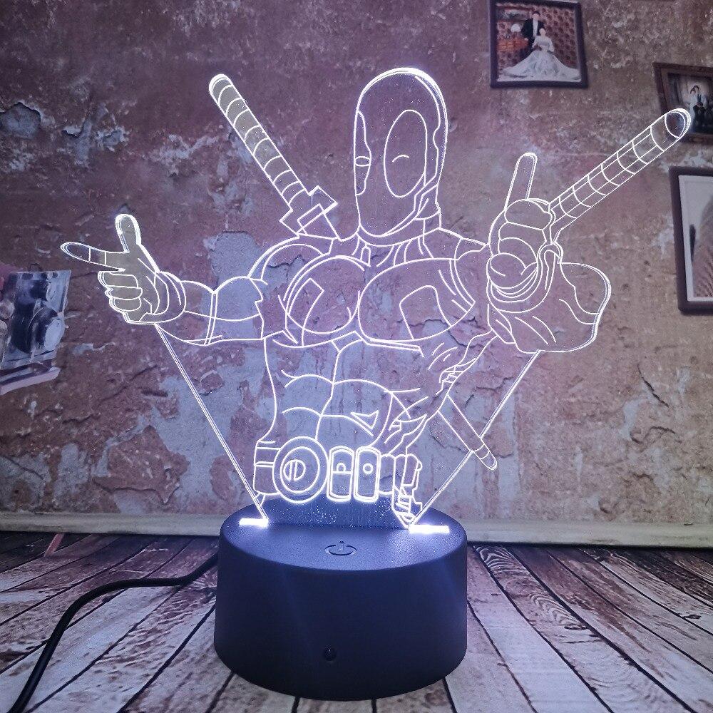 Cool 3d Led Lamp Marvel Deadpool Nachtlampje 7 Auto Kleurverloop Illusion Usb Jongens Kid Licht Speelgoed Slaapkamer Lamp Xmas Decor Geschenken Noch Te Hard Noch Te Zacht
