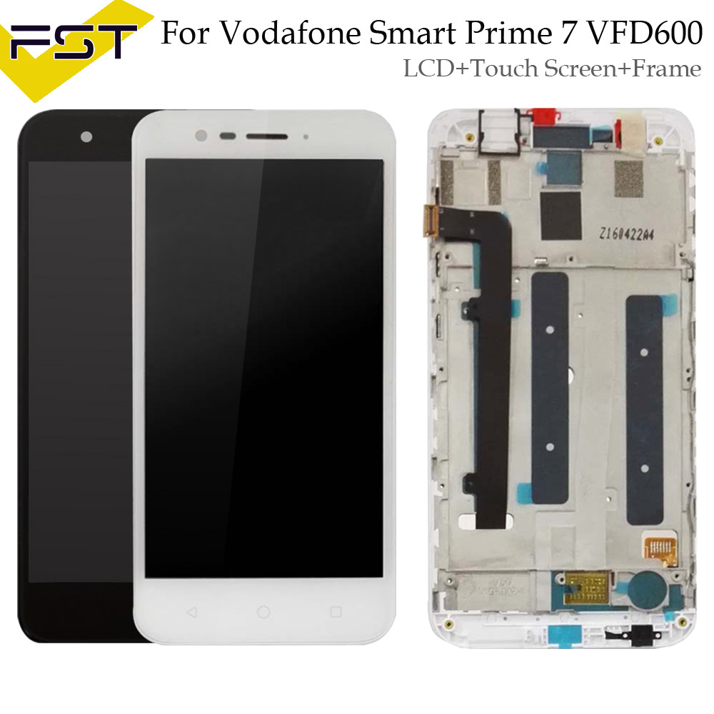 Black/White For Alcatel Vodafone Smart Prime 7 VFD600 LCD Display Touch Screen Phone Digitizer Assembly With Frame