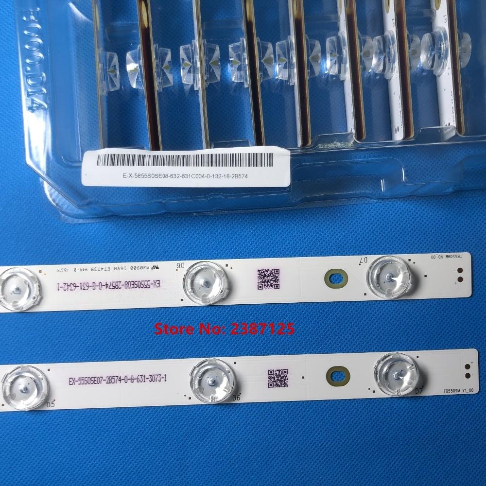 Image 5 - 16PCS 100% New LED backlight strip A rray for tx 55dx600e TB5509M M30900 16V0 E74739 EX 55S0VE04 2Z543 0 I 631 0489 1-in LED Bar Lights from Lights & Lighting