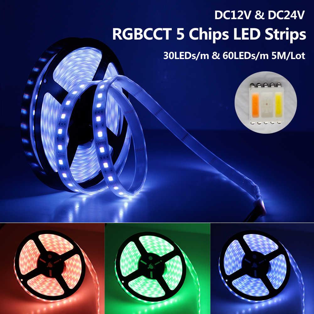 Bande de LED RGBCCT 5050 12 V/24 V 5 couleurs dans 1 puces RGB + WW + CW 60 LED s/m 5 m/lot RGBW LED lumière de bande 5 m/lot.
