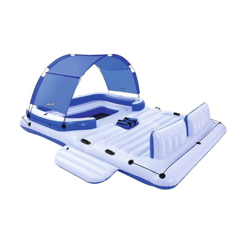 Гигантский 6 человек надувной Тропический Бриз остров поплавок лодка бассейн плавает кровать с солнцезащитный козырек водные игрушки басс