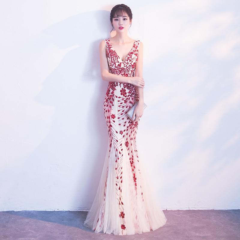 2019 New Evening Dress Banquet Elegant And Elegant Host Long Fishtail Dress2019 New Evening Dress Banquet Elegant And Elegant Host Long Fishtail Dress