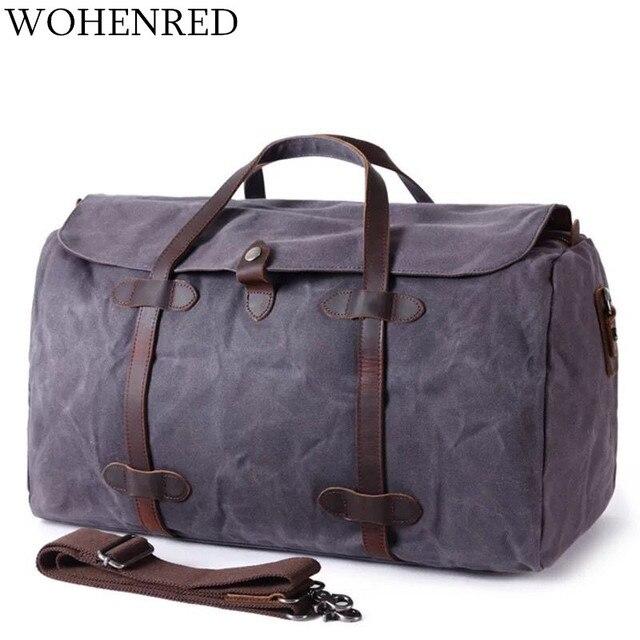 70267ffbc3ec Waterproof Travel Bags Canvas Men Duffle Bags Large Capacity  Multifunctional Vintage Travel Male Weekend Bags Carry On Luggage