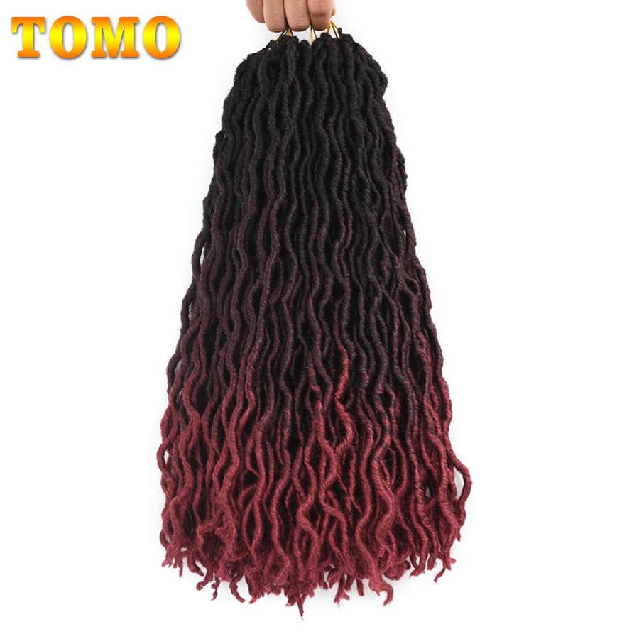 TOMO rizado Faux Locs Crochet cabello 18 pulgadas 24 hebras sintético trenza extensión cabello suave Crochet trenzas Dread cabello tejidos