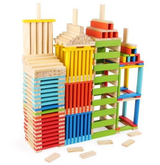 Blocs de construction en bois pour enfants éducation précoce blocs de construction puzzle piles haute domino blocs de construction jouets
