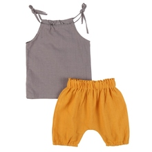 Summer Casual Clothing Suits Sleeveless Toddler Newborn Baby Boy Girls T shirt Tops + Pants Outfits Clothes Sets 2pcs