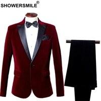 SHOWERSMILE 3 Piece Suits Men Dress Blazer Velvet Burgundy Wedding Groom Male Suits Slim Fit Red Suit Jacket+Pants+Bowtie