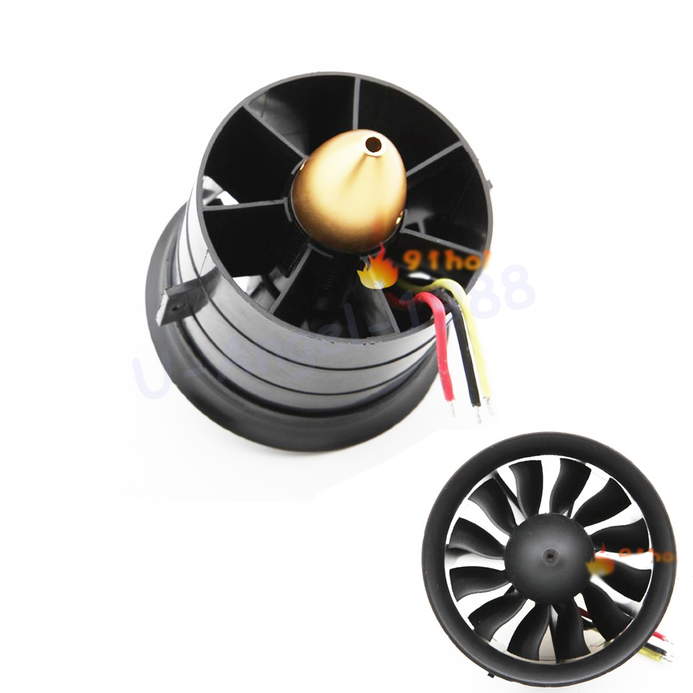 Change Sun 70mm Ducted Fan 12 Blades with EDF 2839 motor kv2600 all set For Rc Airplane image