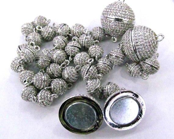 12 pièces 8-16mm Top Qualité Micro Cristal Pave Diamant Fermoirs Magnétique Bijoux Fermoir Boule Ronde en or rose argent antique Bronze C
