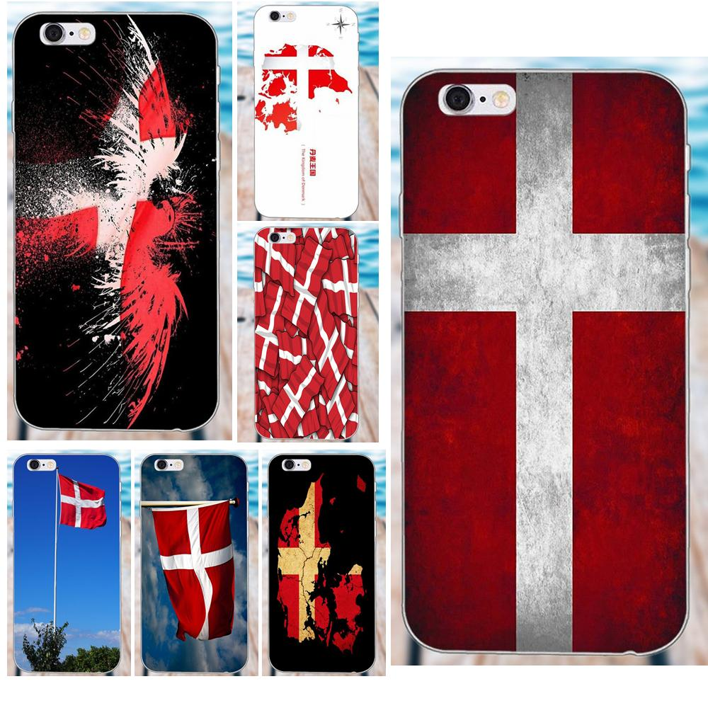 MicroData Soft TPU Design Customized For Apple IPhone X 4 4S 5 5C SE 6 6S 7 8 Plus Galaxy Grand Core II Prime Alpha Danmark Flag