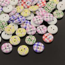 2 Hole Flat Round Tartan Pattern Printed Wooden Sewing Buttons Dyed Mixed Color 15x4mm Hole 1mm