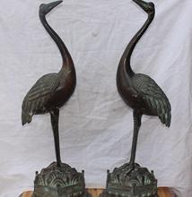 30″ Chinese Lucky Animal Bronze Copper beauty red-crowned crane pair Sculpture