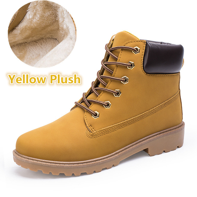 2018 Suede leather man boot Winter men boots ankle shoes warm snow velvet fur work martin cowboy motorcycle male shoe lace-up