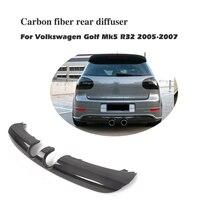 For Volkswagen VW Golf 5 V MK5 R32 Hatchback 2005 2007 Carbon Fiber / FRP Rear Bumper Diffuser Lip Spoiler