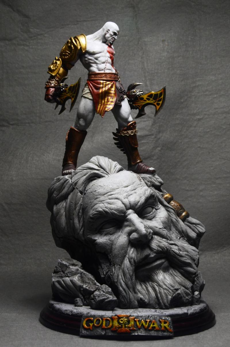 ᗖdhl Ems 26cm Gk God Of War 3 Kratos On Zeus Head Resin