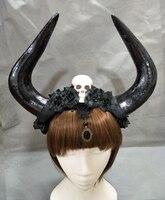 Handarbeit Einzigartige Black Veil Lacee Schädel Rosen Blume Crown Horn Geweih Goth Stirnband Halloween-abendkleid Kopfschmuck