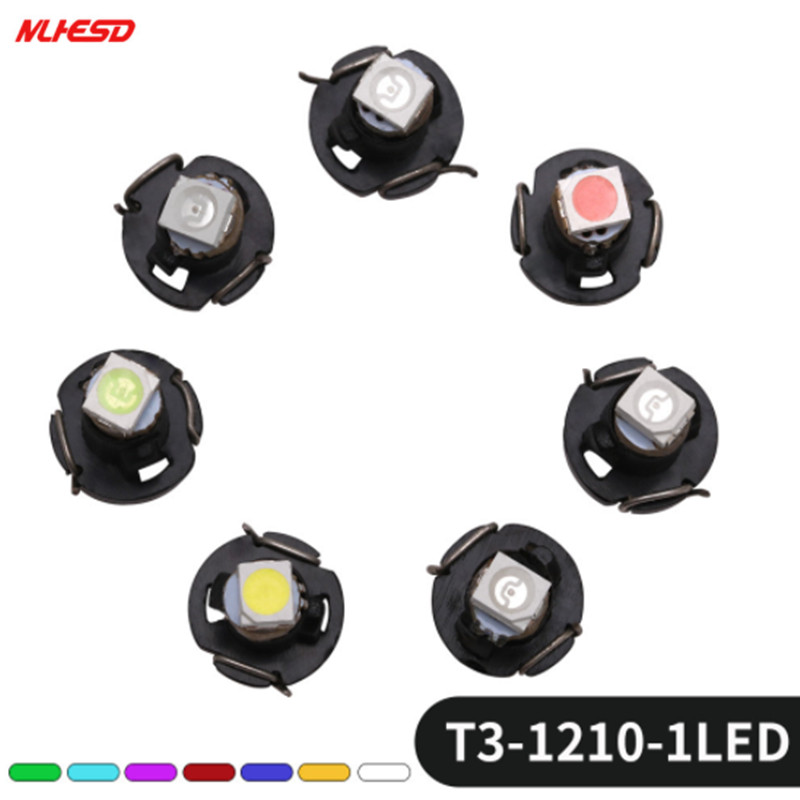 100pcs <font><b>T3</b></font> 1210 SMD 3528 <font><b>12V</b></font> Instrument Dash Lamp NEO Car Led Bulb Dashboard Cluster Read Light White/Yellow/Green/Blue/Red/Pink image