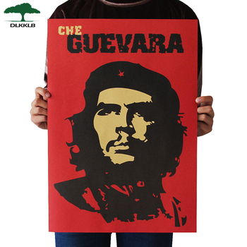 Dlkklb Che Guevara Character Retro Posters Advertising Nostalgic Old Bar Cafe Decorative Painting Vintage Wall Sticker 51.5x36cm image