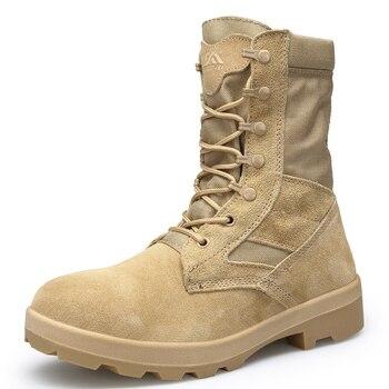 Botas militares para hombres de marca, botas tácticas de gran tamaño, botas de seguridad para hombres, botas de combate de seguridad Chukka, botas de moto 001
