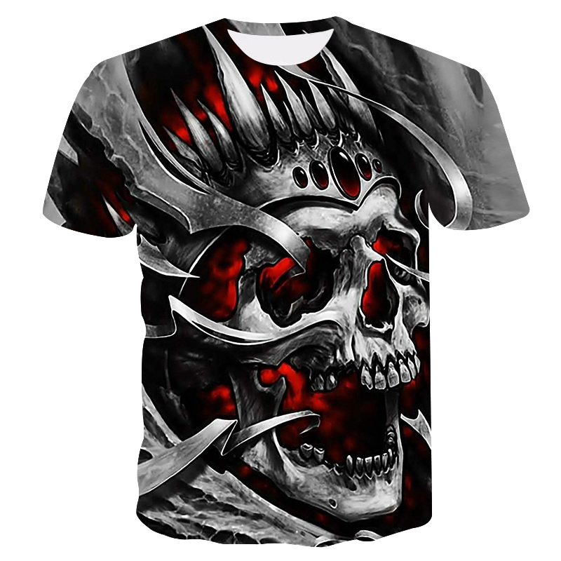 2019 new skull men's casual t-shirt Summer 3D printed round neck cool shirt Street fashion trend youth hip hop Tops T-shirt