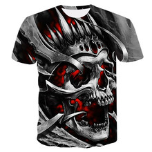 2019 nieuwe schedel mannen casual t-shirt Zomer 3D gedrukt ronde hals cool shirt Street fashion trend jeugd hiphop tops T-shirt(China)