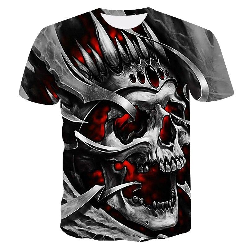 2019 nueva camiseta casual de cráneo para hombres, camiseta de verano con estampado 3D de cuello redondo, camiseta fresca de moda de calle, camiseta de hip hop juvenil